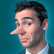 This picture shows a lying man, whose nose is long like Pinokio's